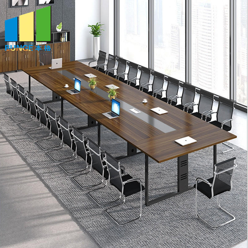 Commercial Office Furniture Meeting Room Negotiation Wooden Table Tops Melamine Conference Boardroom Tables-movable wall- folding partition-operalbe wall-EBUNGE
