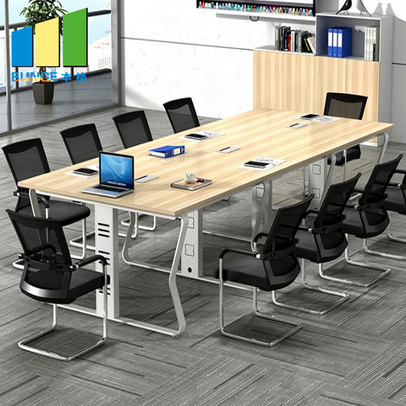 6-10 Seats Modern Simple Aluminum Panel Meeting Room Table Wooden Conference Tables for Office