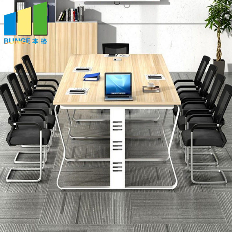 product-EBUNGE-6-10 Seats Modern Simple Aluminum Panel Meeting Room Table Wooden Conference Tables f