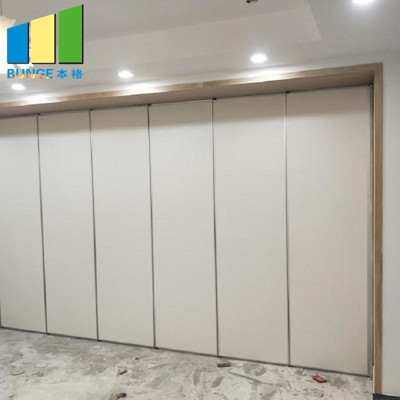 Conference Hall Soundproof Acoustic Partitions Wooden Folding Movable Walls for Office