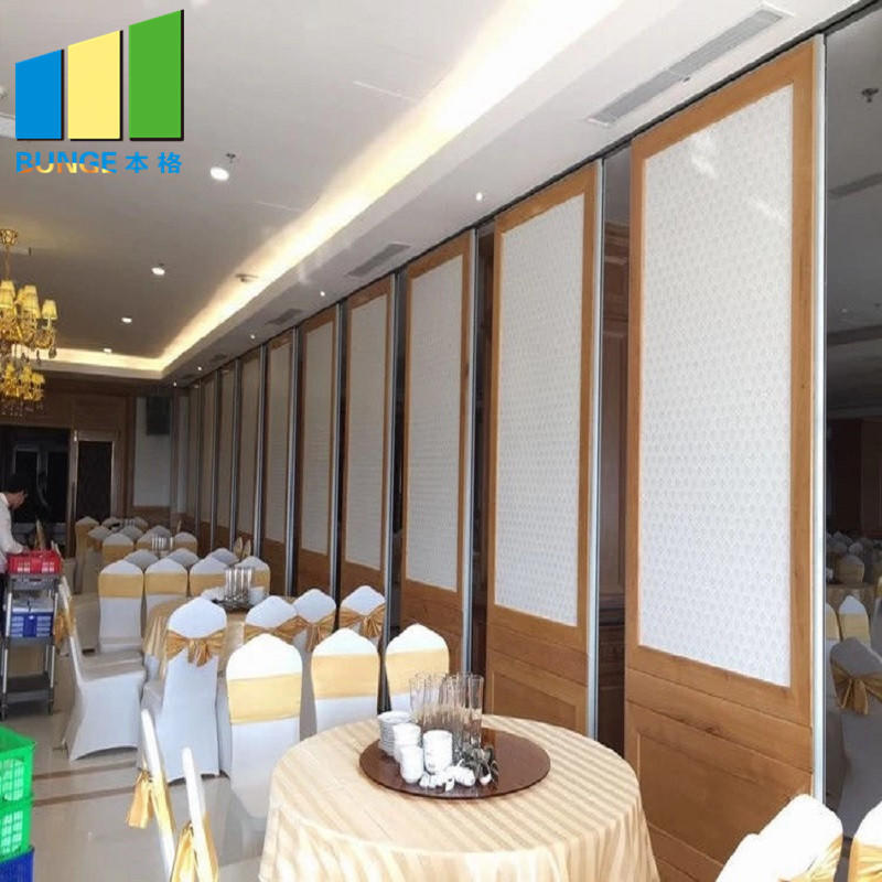 Aluminium Frame Banquet Sliding Folding Room Partitions Soundproof Movable Walls for Restaurants-EBUNGE