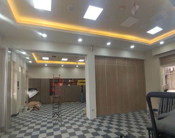 Red Cross Foldable Acoustic Sliding Movable Partition Wall Project in Lebanon-EBUNGE