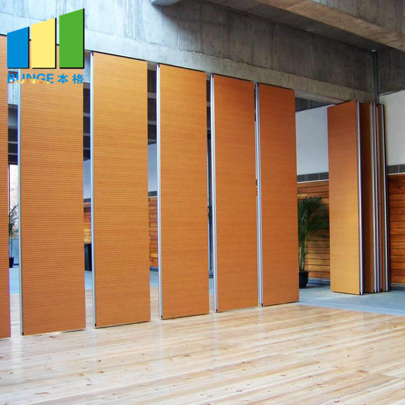 Banquet Hall Soundproof mdf Room Separation Wood Folding Partition Wall Myanmar-mdf room separation folding partition wall-EBUNGE