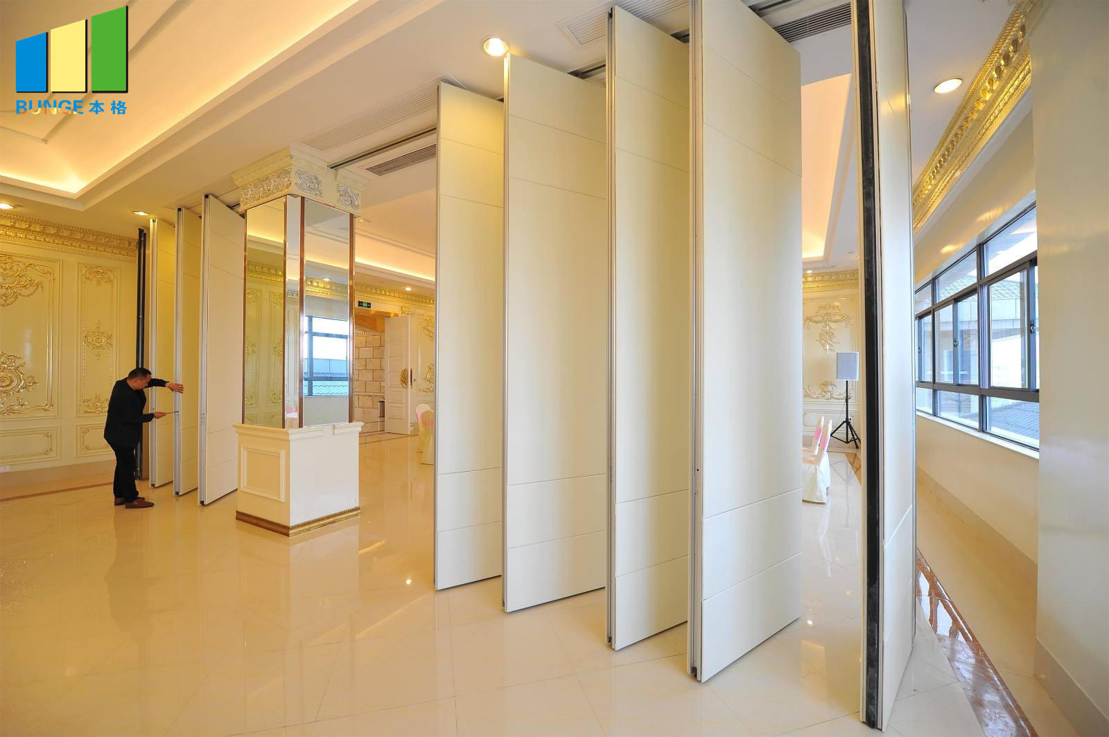 Bunge-Professional Sliding Wall Dividers Movable Wooden Partition Manufacture-1