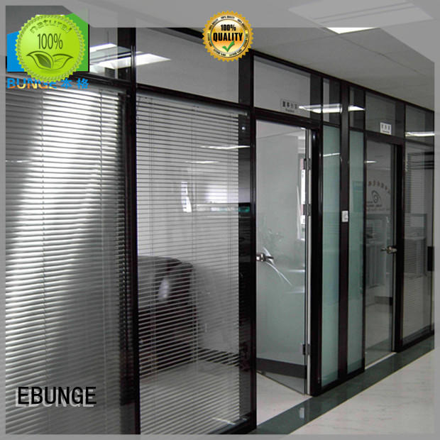 modern design internal glass partition doors factory direct supply for office EBUNGE