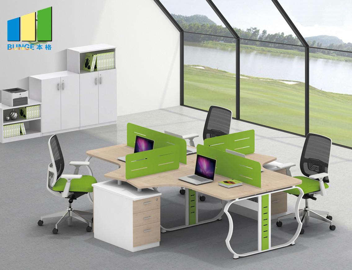 Bunge-Movable Partition Modern Type Furniture 4 Seat Office Partition Cubicle